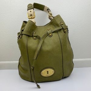 Fossil Large Leather Grayson Drawstring Bucket Bag